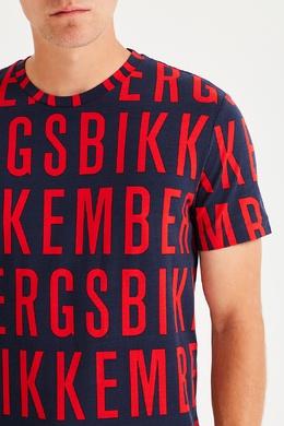 Синяя футболка с красными надписями Bikkembergs 1487154938