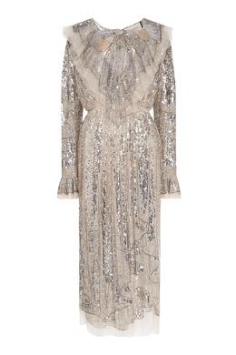 Длинное платье с серебристыми пайетками Gucci 470154954