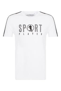 Белая футболка с контрастными рисунками Bikkembergs 1487154949