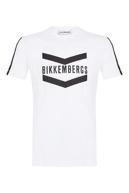 Футболка с контрастным логотипом и полосками Bikkembergs 1487154945