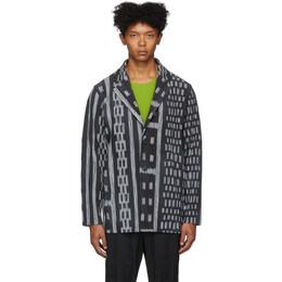 Homme Plisse Issey Miyake Black and Grey Ikat Pleated Blazer JD219