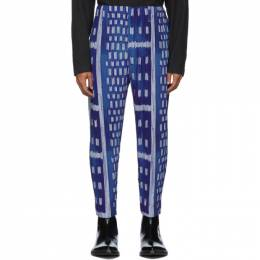 Homme Plisse Issey Miyake Blue Ikat Pleated Trousers JF220