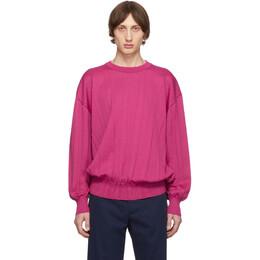 Issey Miyake Men Pink Wrinkle Knit Crewneck Sweater 192728M20100102GB