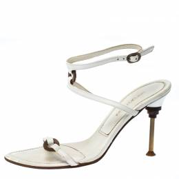 Sergio Rossi White Leather Ankle Strap Sandals Size 36.5 229869