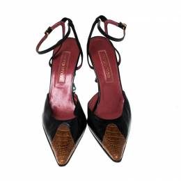 Sergio Rossi Black Leather And Brown Ostrich Trim Pointed Toe Ankle Strap Sandals Size 38.5 229838