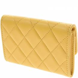 Chanel Yellow Lambskin Leather Matrasse Coin Case 229132