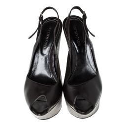 Sergio Rossi Black Leather Slingback Wedge Platform Sandals Size 37.5 230367