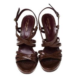 Sergio Rossi Brown Python Leather Strappy Platform Sandals Size 38.5 230374