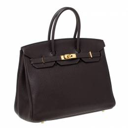 Hermes Cacao Togo Leather Gold Hardware Birkin 35 Bag 229790