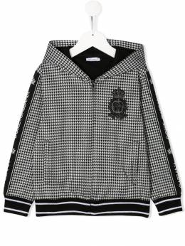 Dolce & Gabbana Kids logo tape houndstooth print hoodie L4JW7DG7TYS