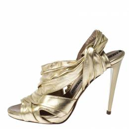 Baldinini Metallic Gold Leather Draped Peep Toe Sandals Size 38 229880