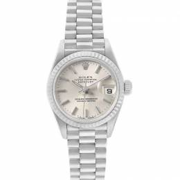 Rolex Silver 18K White Gold President Datejust 69179 Women's Wristwatch 26 MM 231130