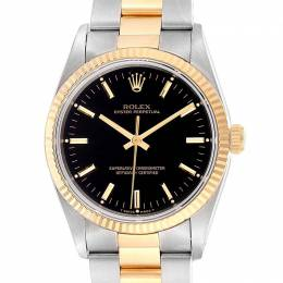 Rolex Black 18K Yellow Gold And Stainless Steel Oyster Perpetual 14233 Men's Wristwatch 34 MM 231125