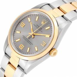 Rolex Silver 18K Yellow Gold And Stainless Steel Oyster Perpetual Nondate 14203 Men's Wristwatch 34 MM 231124