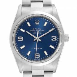 Rolex Blue Stainless Steel Air King 14000 Men's Wristwatch 34MM 230528