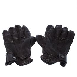 Prada Dark Brown Leather Cashmere Lining Gloves