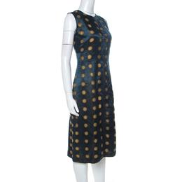 Marc Jacobs Green Polka Dot Jacquard Sleeveless Sheath Dress M 231926