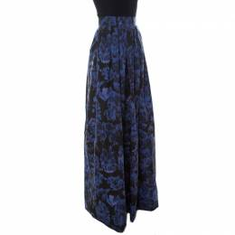 Max Mara Blue Printed Silk Maxi Skirt M 231757