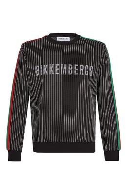 Черный свитшот в полоску Bikkembergs 1487156468