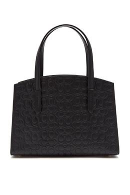 Черная сумка Charlie 28 из тисненой кожи Signature Coach 2219156012