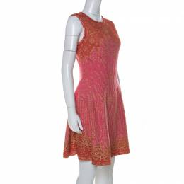 M Missoni Pink & Red Metallic Jacquard Knit Detail Sleeveless Short Dress M 232006