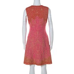 M Missoni Pink & Red Metallic Jacquard Knit Detail Sleeveless Short Dress M 232006