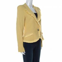 Christian Dior Yellow Wool Ribbon Tweed Fringe Trim Detail Jacket L 232021