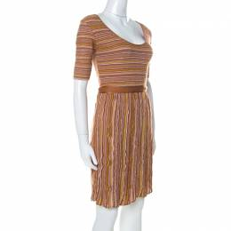M Missoni Brown Striped Knit Scoop Neck Short Sleeve Dress M 232024