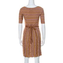 M Missoni Brown Striped Knit Scoop Neck Short Sleeve Dress M 232024