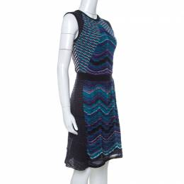M Missoni Multicolor Paneled Knit Cap Sleeve Short Dress M 231768