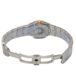 Omega Navy Blue Diamond Dial Constellation Steel & Rose Gold Double Diamond Line Bezel Women'S Watch 24MM 232072
