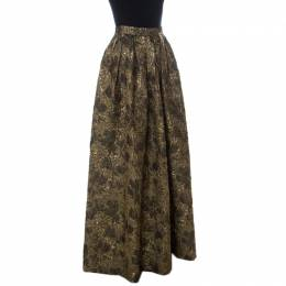 Max Mara Gold Floral Brocade Pleated Maxi Skirt M 231717