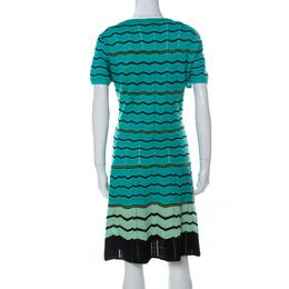 M Missoni Green Chevron Patterned Perforated Knit Short Sleeve Dress L 232019