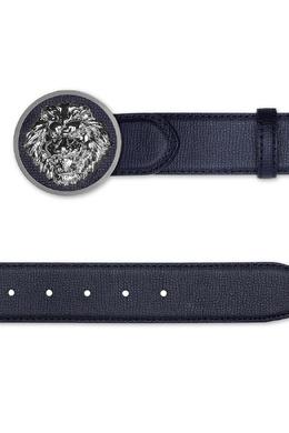 Темно-синий ремень с серебристой металлической пряжкой Billionaire 1668156215