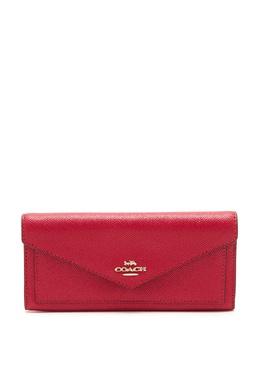 Красный кожаный кошелек в форме конверта Coach 2219156558