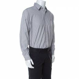 Ralph Lauren Grey Striped Cotton Classic Fit Button Down Shirt L 231927