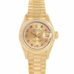 Rolex Champagne 18k Yellow Gold Diamond Rubies President 69158 Women's Wristwatch 26MM 232097