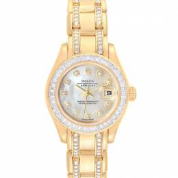 Rolex MOP 18K Yellow Gold Diamond Pearlmaster 80308 Women's Wristwatch 29MM 231372