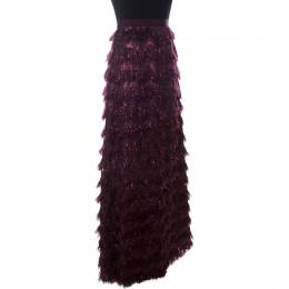 Max Mara Burgundy Metallic Jacquard Faux Feather Fringed Maxi Skirt S 231879