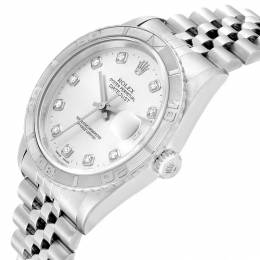 Rolex Silver 18K White Gold Diamond and Stainless Steel Turnograph Datejust 16264 Men's Wristwatch 36MM 232127