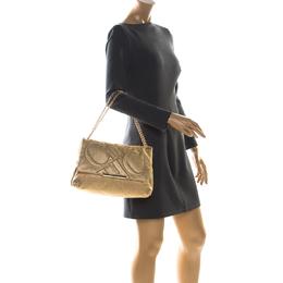 Carolina Herrera Gold Quilted Leather Flap Chain Shoulder Bag 229153
