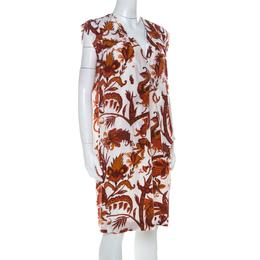Gucci Whte & Orange Paisley Print Silk Shift Dress M 229204