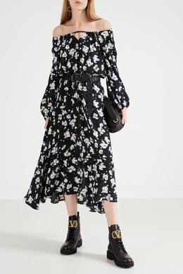 Черное платье миди с цветочным принтом Dorothee Schumacher 1512156329