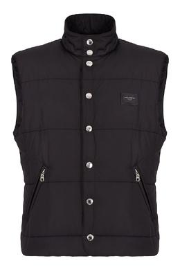 Стеганый черный жилет на кнопках Dolce & Gabbana 599156609