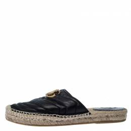 Gucci Black Leather GG Espadrilles Size 37