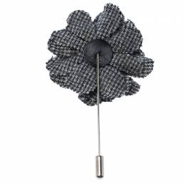 Lanvin Check Flower Wool Woven Silver Tone Stick Pin Brooch