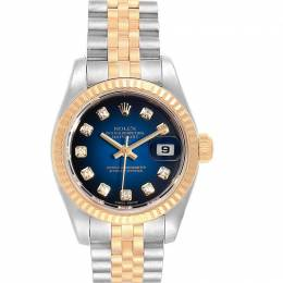 Rolex Blue 18K Yellow Gold Diamond and Stainless Steel Datejust 179173 Women's Wristwatch 26MM 232866