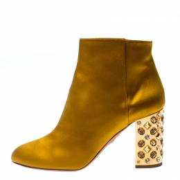 Aquazzura Yellow Satin Party Embellished Heel Ankle Booties Size 39.5 233051