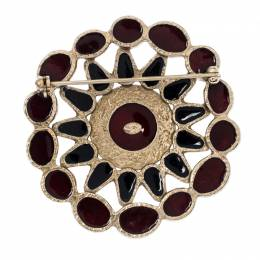 Chanel CC Multicolor Enamel Gold Tone Round Pin Brooch 233050