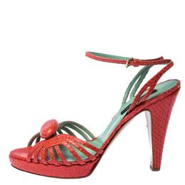 Sergio Rossi Pink Python Leather Ankle Strap Platform Sandals Size 37 232564